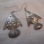 Sterling Silver Vintage Fish Earrings