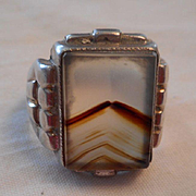 Sterling Silver Vintage Agate Ring
