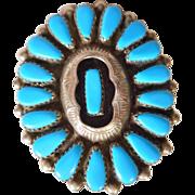 Vintage Nickel Silver & Block Turquoise Petite Point Ring