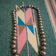 Sterling Silver Navajo Beaded Vintage Necklace