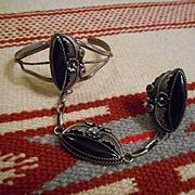 Sterling Silver & Jet Vintage Slave Bracelet