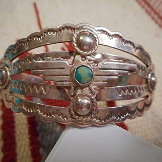 Sterling Silver Vintage Stamped Thunderbird Bracelet