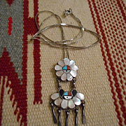 Sterling Silver Zuni Inlay Sunface Pin & Pendant
