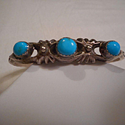 Sterling Silver & Sleeping Beauty Turquoise Vintage Bracelet