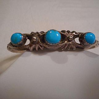 Sterling Silver & Sleeping Beauty Turquoise Vintage Bracelet