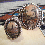Sterling Silver & Petrified Wood Vintage Bracelet & Ring