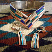Sterling Silver Mosaic  Vintage Bracelet & Earrings