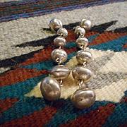 Sterling Silver Stamped Beaded Earrings