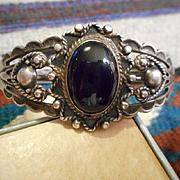 Sterling Silver Onyx Vintage Maiseles Bracelet