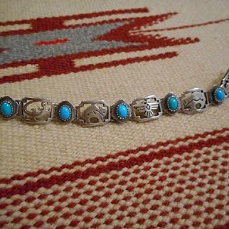 Sterling Silver Turquoise Vintage Link Bracelet