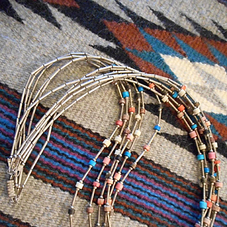 Sterling Liquid Silver & Heishi Six Strand Necklace