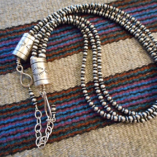 Sterling Silver Three Strand Navajo Necklace