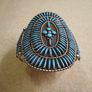Sterling Silver Turquoise Petite Point Bracelet