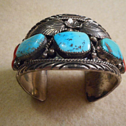 Sterling Silver Turquoise Coral Navajo  Bracelet