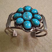 Sterling Silver Turquoise Cluster Vintage Bracelet