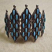 Sterling Silver Needlepoint Turquoise Vintage Bracelet