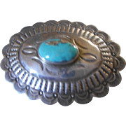 Sterling Silver Turquoise Conch Vintage Pendant