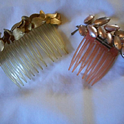 Hair Combs Vintage Thermoset/Metal Clips