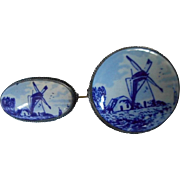 Delft Blue Porcelain Dutch Scene Vintage Pins