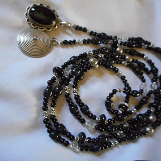 Sterling Silver and Beaded Necklace