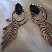 Sterling Silver + Jet Large Dangle Earrings