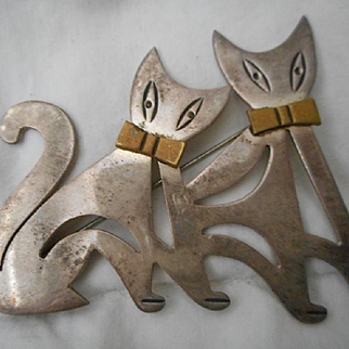 Sterling Silver Vintage Cat Pin