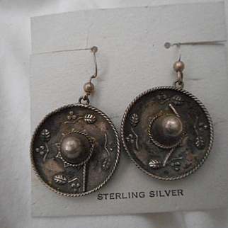 Sterling Silver Mexican Sombrero Hat Earrings
