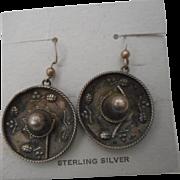 Sterling Silver Mexican Sombrero Hat Earrings