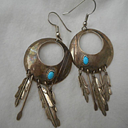 Sterling Silver Turquoise Dangle Feather Earrings