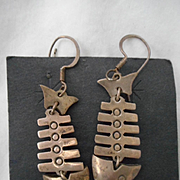 Sterling Silver Vintage Fish Dangle Earrings