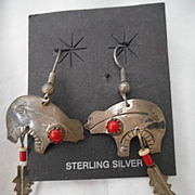 Sterling Silver Coral Vintage Earrings