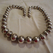 Sterling Silver Stamped Vintage Beaded Necklace