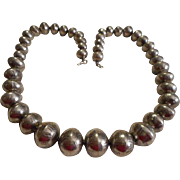 Sterling Silver Stamped Vintage Beaded Necklace