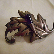 Sterling Silver Amethyst Vintage Pin