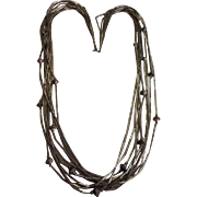 Sterling Silver Ten Strand Beaded Necklace