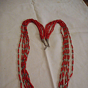 Sterling Silver & Coral Six Strand Beaded Necklace