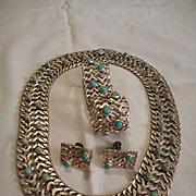 Sterling Silver Turquoise Necklace Bracelet Earrings
