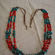 Sterling Turquoise & Coral Vintage Heishi Necklace