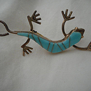 Sterling & Channel Inlay Turquoise Vintage Gecko Pin