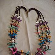 Sterling Heishi Fetish Vintage Five Strand Necklace