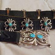 Sterling Silver Sandcast Vintage Concho Belt