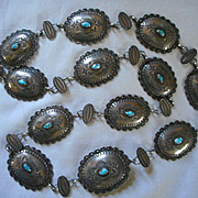 Sterling Silver Turquoise Vintage Concho Belt