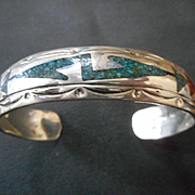 Sterling Silver Turquoise & Coral Inlay Vintage Bracelet