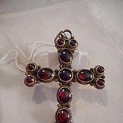 Sterling Silver Garnet Vintage Cross