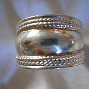 Sterling Silver Cigar Band Vintage Size 7 Ring