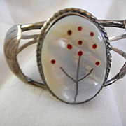 Sterling Silver Coral & Mother of Pearl Vintage Bracelet