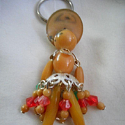 Celluloid  Beaded Vintage Key Chain