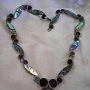 Sterling Silver Jet Abalone Vintage Necklace