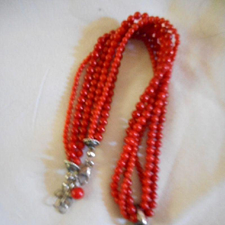 Coral Beaded Three Strand Necklace With Sterling Pendant