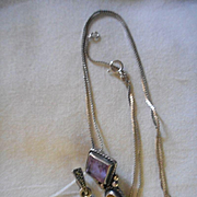Sterling Silver Necklace With Two Gem Sterling Pendants